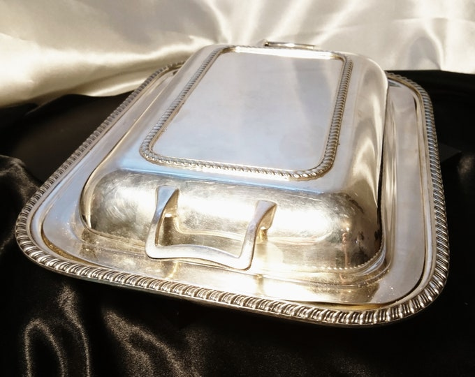 Large antique silver plated entrée dish, James Deakin and Sons, early 20th century
