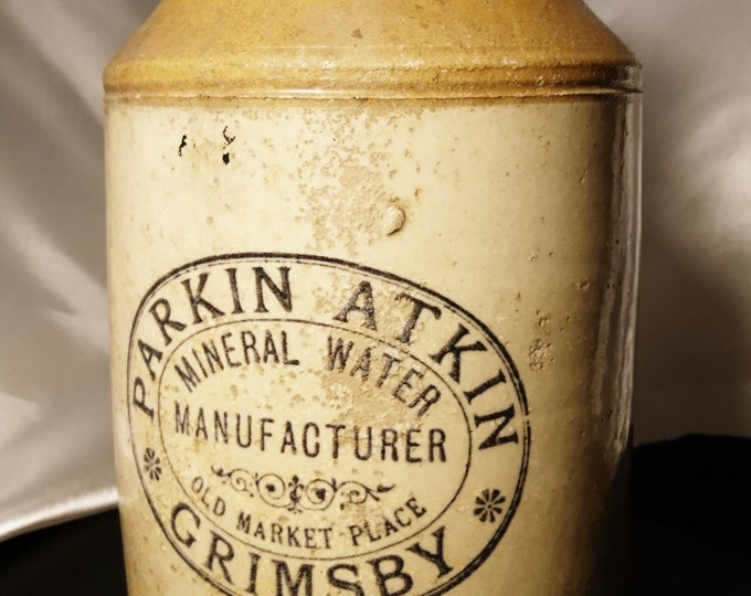 Large antique stoneware bottle, mineral water, rustic Victorian stoneware jug