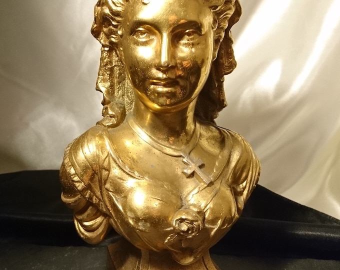 Antique gilt spelter bust of a lady, Art Nouveau decor