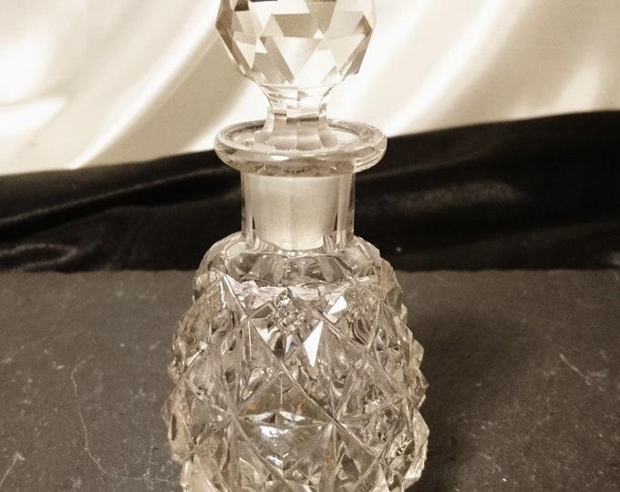 Antique cut glass scent bottle, faceted cut, original stopper, Victorian era perfume bottle