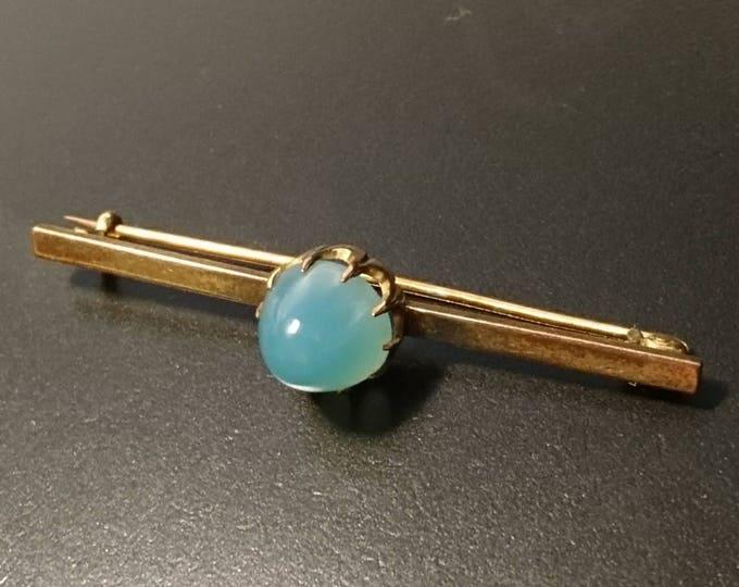 Rare antique Art Nouveau blue smithsonite brooch, 15ct gold bar brooch
