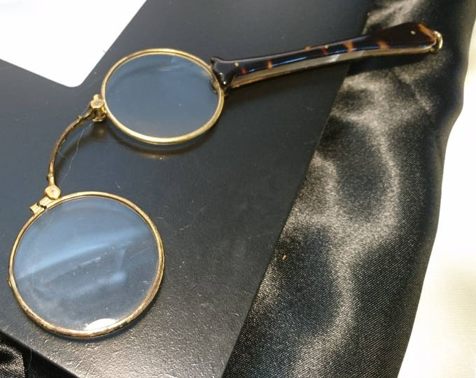 Art Deco filled gold and faux tortoiseshell lorgnettes, 1930's vintage lorgnettes
