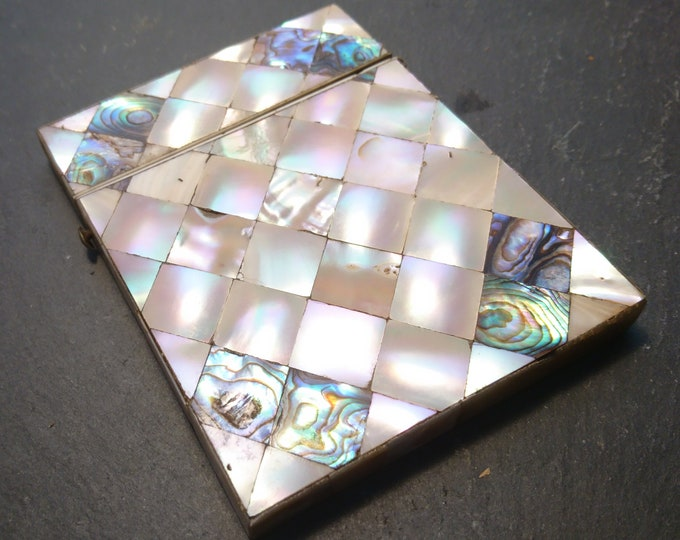 Victorian mother of pearl card case, card holder, abalone, antique calling card case