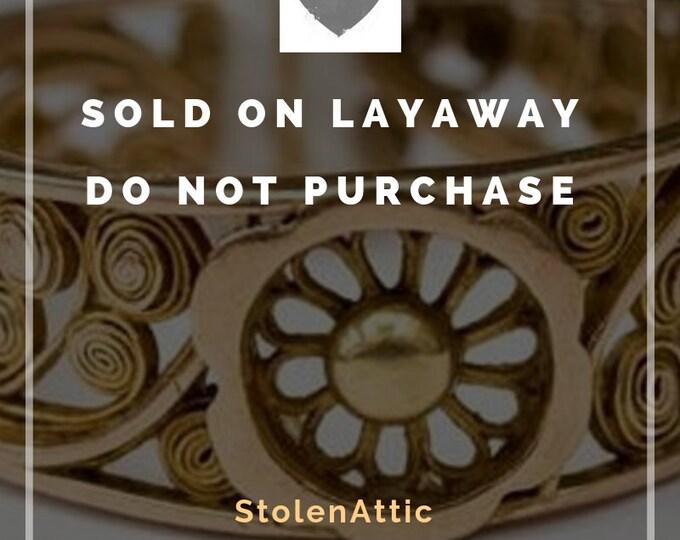 Sold On layaway - Victorian filigree wedding band, forget me not ring, antique estate, 14ct / 14 karat gold wedding ring