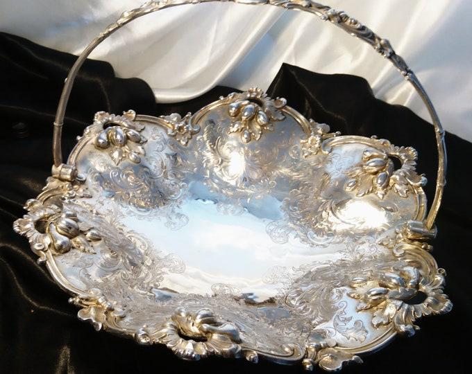 Antique silver plated cake basket, Victorian fruit basket, very decorative