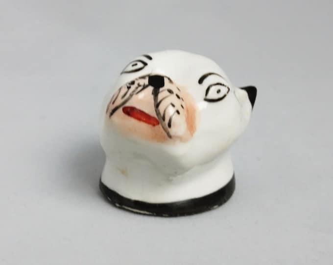Antique Staffordshire pug, 18th century, pug head, Staffordshire ceramics