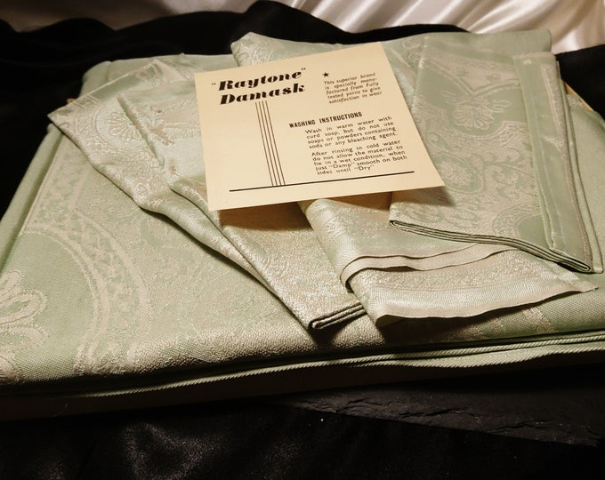 Vintage Irish linen set, Raytone Damask, mint green table cloth and napkins, Egyptian cotton and rayon, boxed