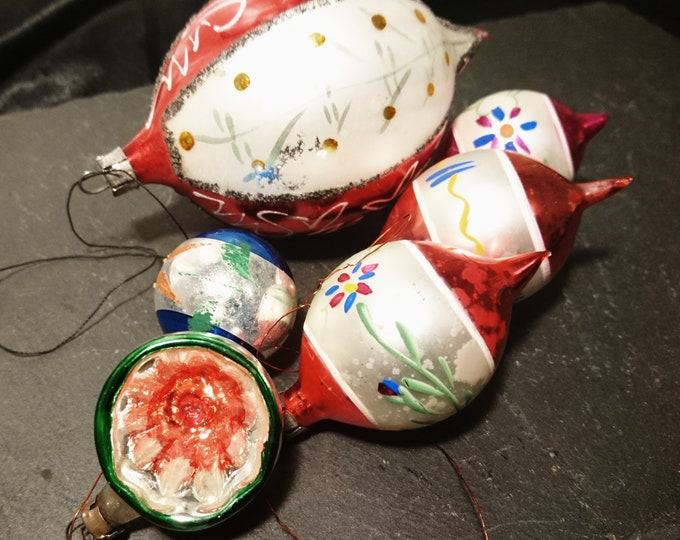 Antique Christmas baubles, blown glass, hand decorated, Christmas decorations, 19th century