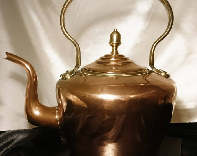 Victorian copper kettle, traditional stove kettle, brass handle, antique metalware