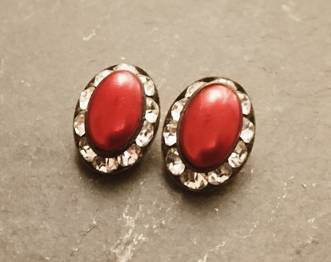 Vintage clip-on earrings, red and silver, diamanté and faux pearl, 1950's