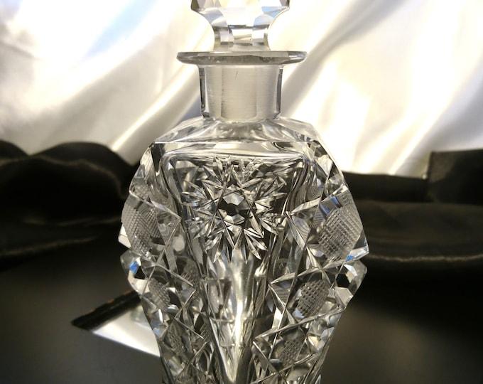 Antique scent bottle, Victorian crystal cut, snowflake design scent bottle