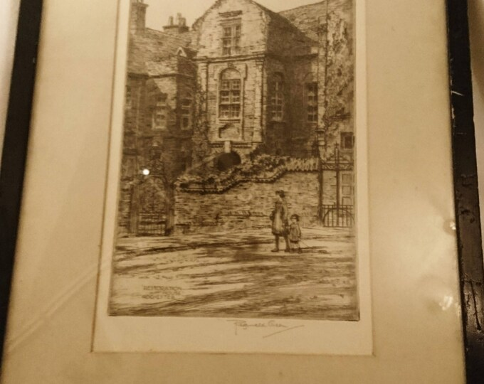 Antique fine art Etching, framed artwork by Reginald Green, Restoration House Rochester, early 20th century, signed