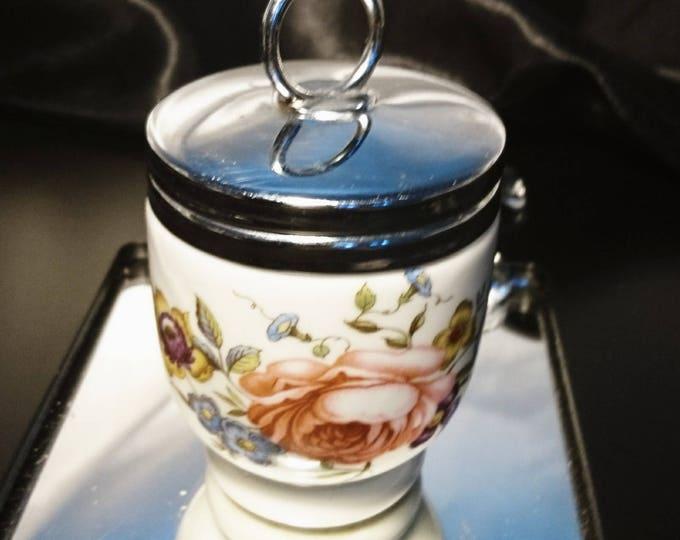 Royal Worcester egg coddler, vintage cookware, porcelain roses egg coddler, kitsch vintage homeware