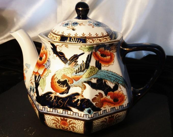 Antique ceramic teapot, Losol Ware, Keeling Co, Shanghai, decorative ceramic chinoiserie teapot