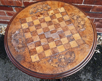 George Iii Inlaid Walnut Tripod Table, Solid Walnut And Inlaid Games Table,  Antique Home Furniture