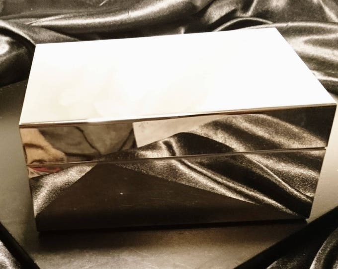 Vintage silver plated humidor, cigarette box, wood lined, vintage ciggy / cigar box