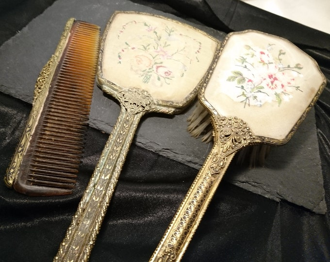 Vintage 30's petit point vanity set, gilt brass, matched dressing table set, mirror, brush, Delina vanity