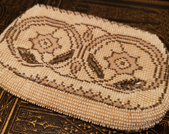 Vintage beadwork purse, 1930's, beaded clutch, cream and gold
