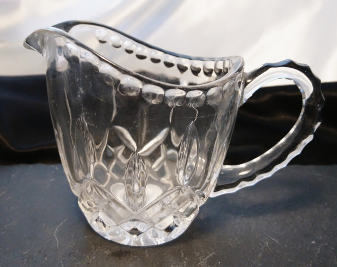 Victorian cut glass creamer, molded glass cream jug