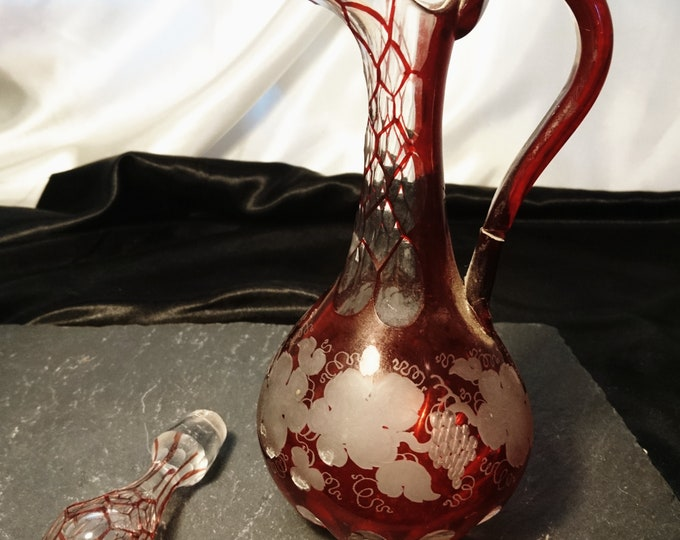 Victorian Ruby glass decanter, flashed glass, small antique decanter, grapes and foliate