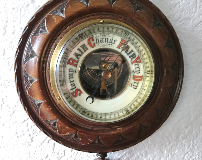 Victorian oak barometer, thermometer, antique pendant barometer