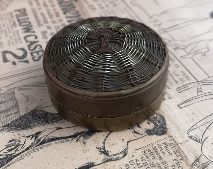 Antique Chinese pot, copper, brass and silver, basket weave lid, snuff, pill box
