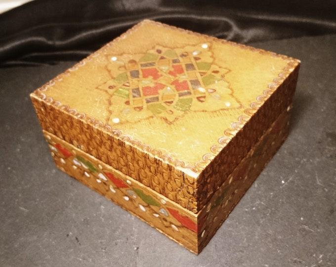 Antique folk art box, primitive dovetail joins, Polish, hand painted, rustic wooden box