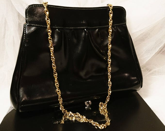 Vintage evening bag, black and gold, patent leather purse, chain handle, 50's