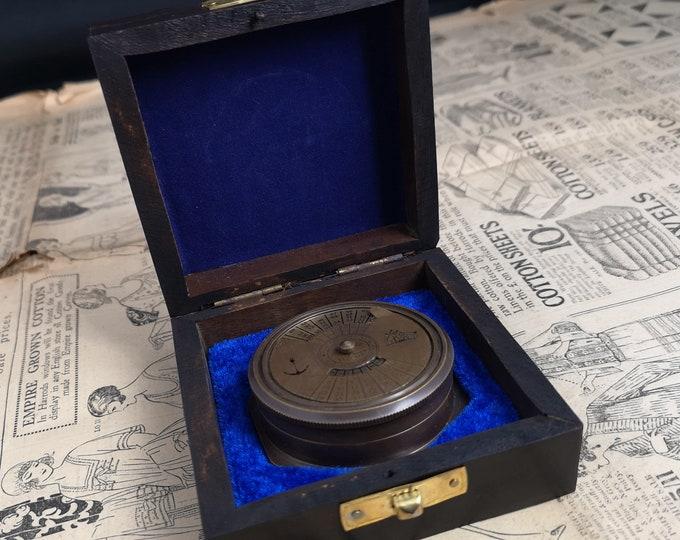 Vintage brass calendar, nautical, ships calendar, 111 years, Ross London, 1950's cased