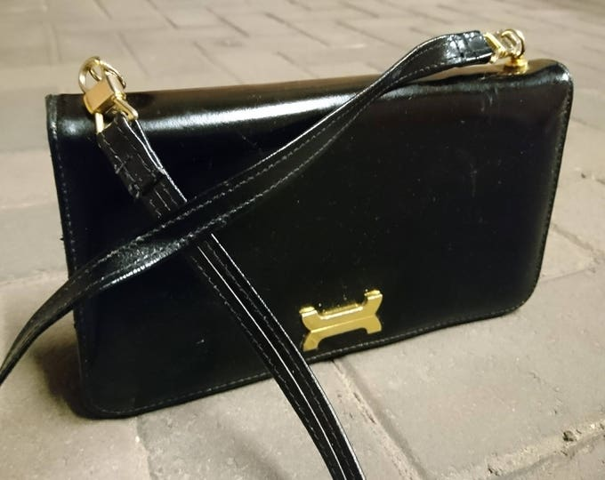 Vintage handbag, black and gold, 50's Kelly style handbag, A frame bag