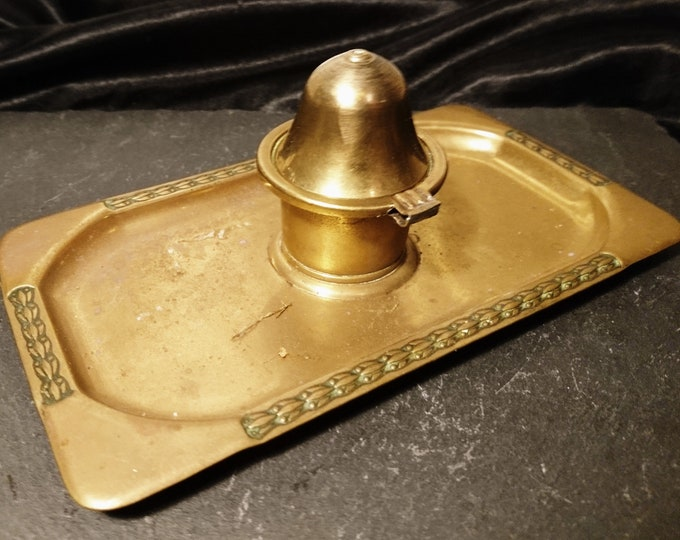 Vintage brass ink stand, pen tray, Anglo-Indian brass ink stand