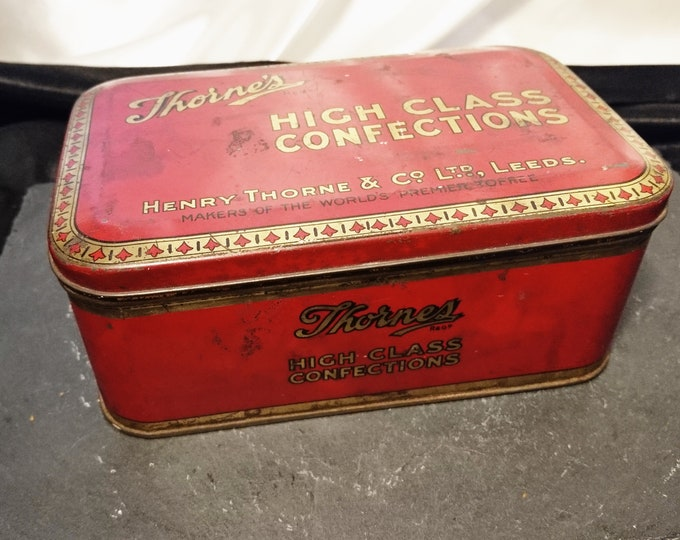Vintage confectionery tin, red and gold, toffee tin, Thornes confectioners, collectable