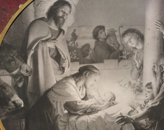Rare antique engraving, Holy Night, Heilige Nacht, Carl Muller, 19th century religious art