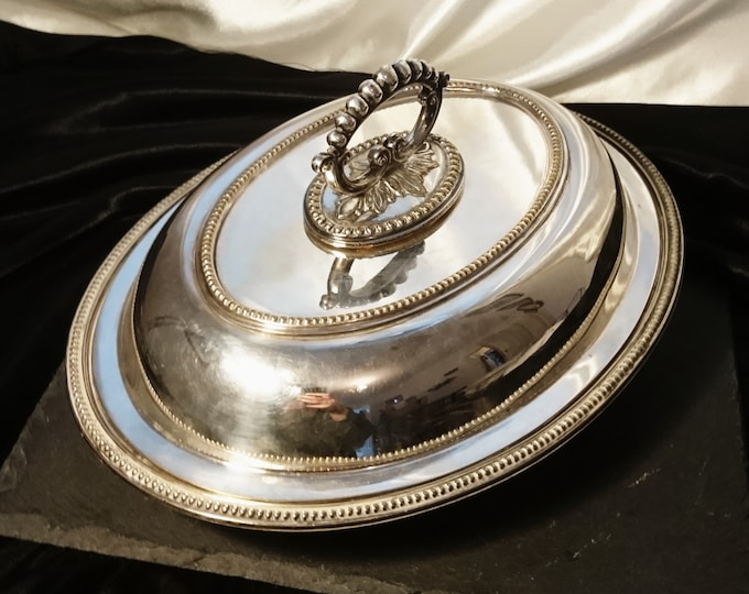 Antique silver plated entrée dish, Victorian serving Tureen