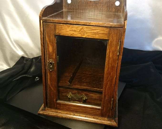 Antique oak smokers cabinet, stained oak, brass mounts and handles, wall mountable, smokers cabinet, lockable without key
