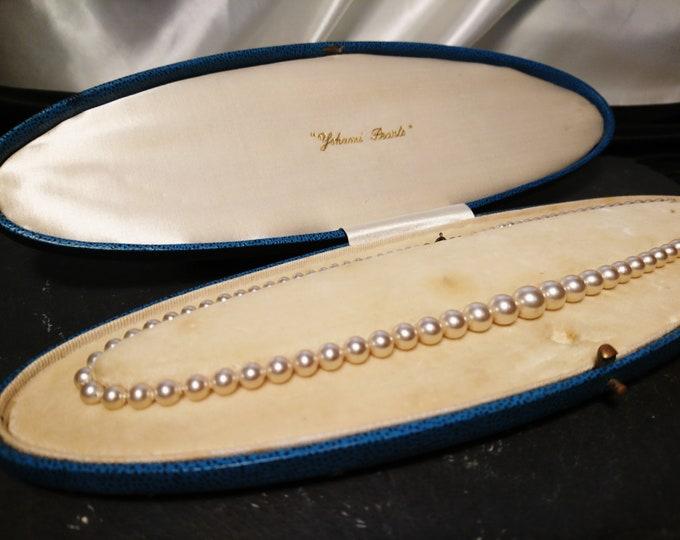 Vintage faux pearl necklace, 1930's, original box, Yohani pearls