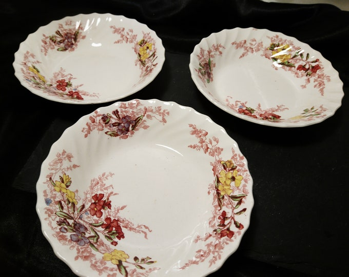 Vintage Copeland Spode dishes, China dishes, Fairy Dell Pattern, scalloped edge, 1930's