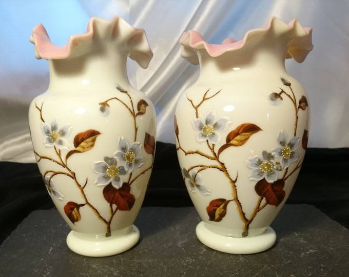 Pair of Victorian enamelled vases, antique primrose glass, decorative antique vases, fine quality, pearline glass