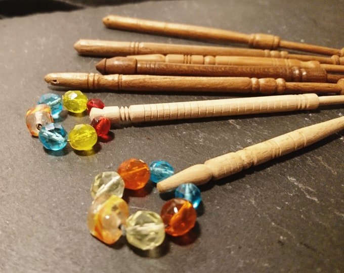 Vintage lace bobbins, turned wooden handles, hand beaded, vintage lace work