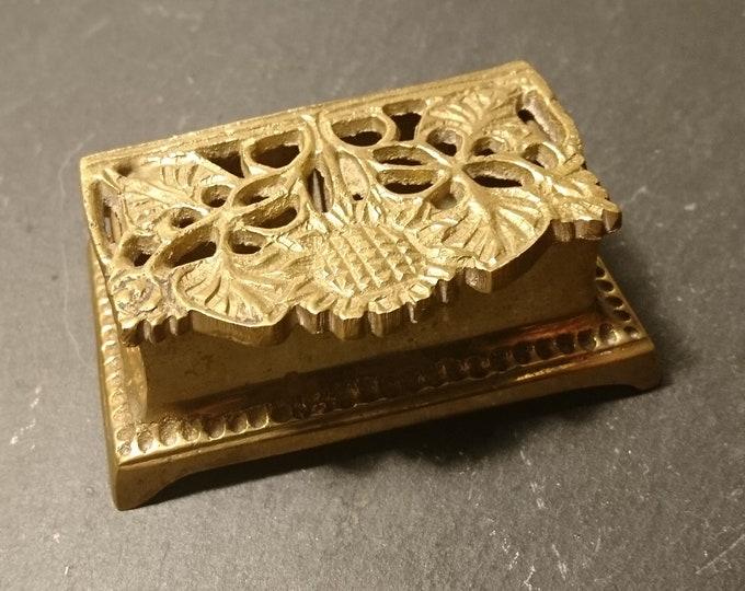 Vintage stamp box, gilt brass double stamp box, 1920's