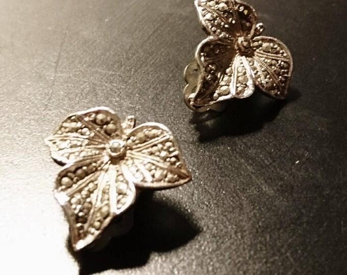 Vintage marcasite clip on earrings, leaf earrings, ivy, clip-ons