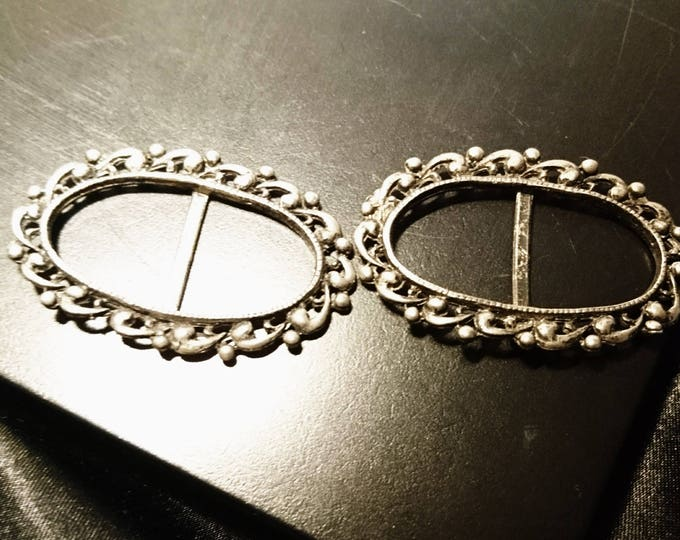 Antique silver plated belt buckle, art nouveau, victorian sash buckle