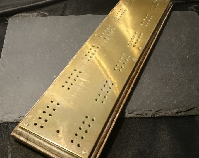 Antique cribbage board, brass overlay, Victorian