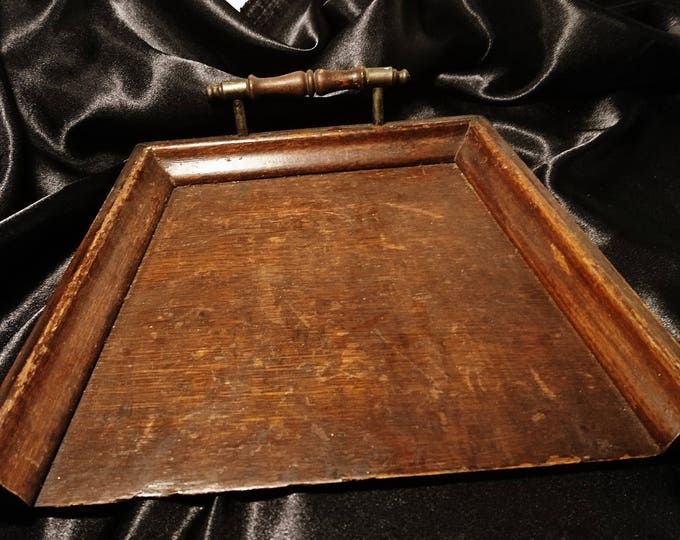Victorian crumb scoop, oak and brass, antique crumb tray, treen