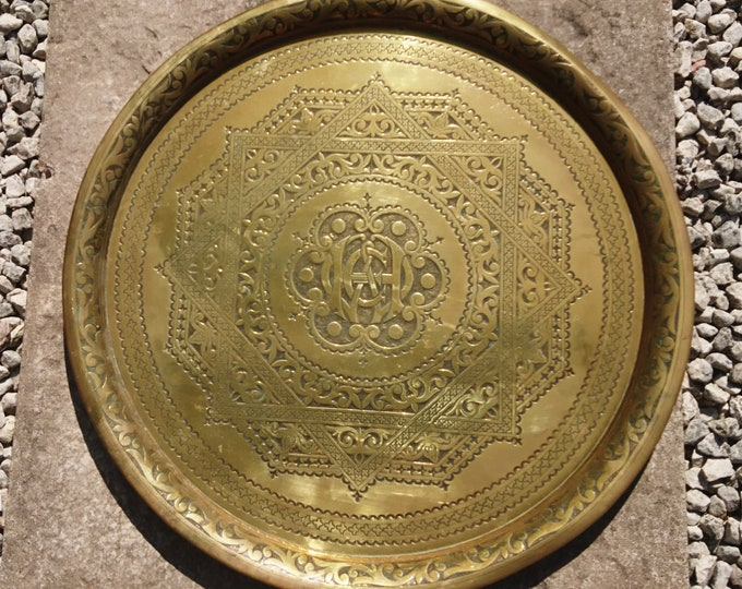 Antique Anglo Indian brass charger, large hand hammered wall hanging, armorial