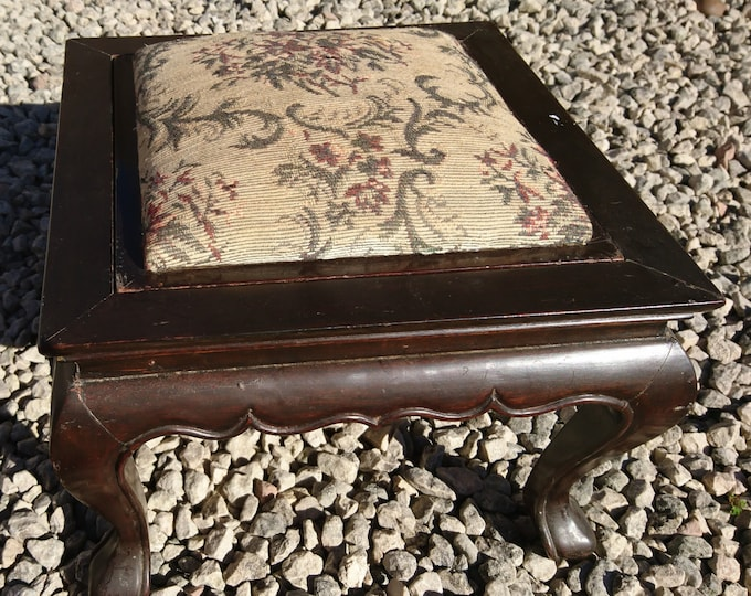 Antique footstool, Victorian embroidered drop in top, square hardwood footstool, cabriole legs