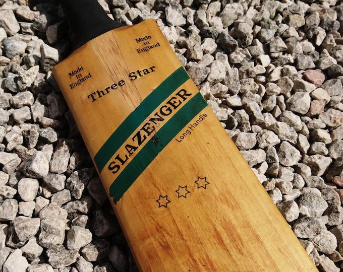 Vintage cricket bat, Slazenger 3 star bat, old wooden cricket bat, 50's