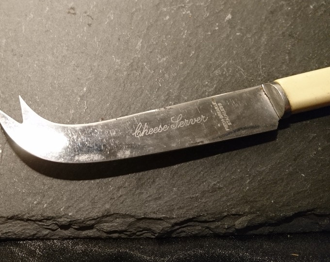 Vintage cheese knife, Firth Brearley stainless Steel and faux bone, 1930's