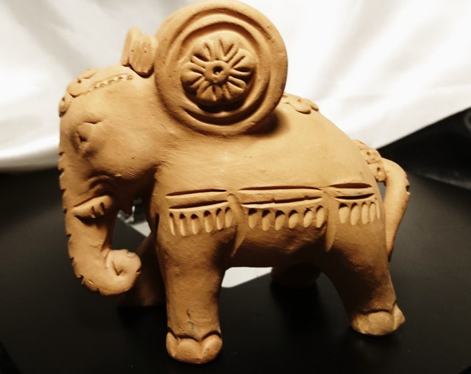 Vintage Terracotta elephant, Indian natural unfinished Terracotta, ceramic elephant