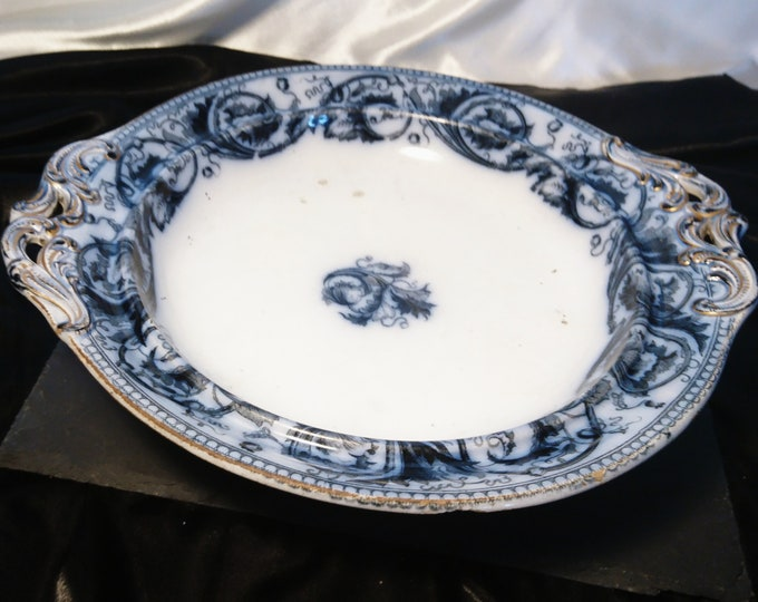 Antique Comport, flow blue, Wedgwood Pearlware, antique serveware